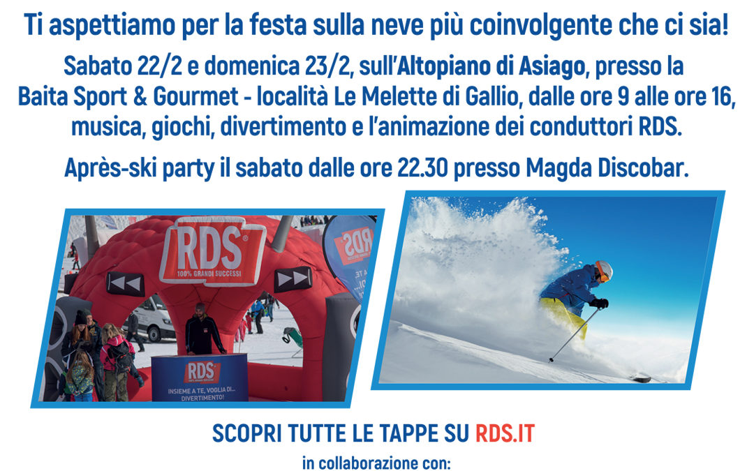 L'RDS PLAY on Tour –  Winter Edition arriva alla Ski Area leMelette a Gallio sull'Altopiano di Asiago