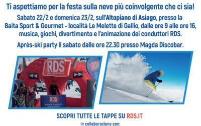 L'RDS PLAY on Tour –  Winter Edition arriva alla Ski Area leMelette a Gallio sull'Altopiano di Asiago